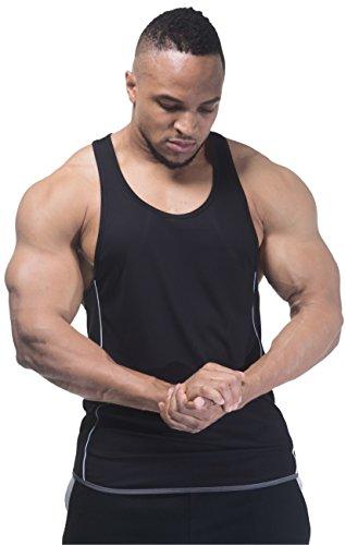 Entscheidender Fitness 3Ton Bodybuilding Gym Muskelshirt Y Rückseite Stringer/Racerback Weste Schwarz / Grau