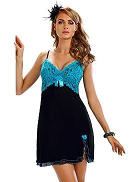 Donna elegante viscosa–Negligee camicia da notte sleep maglietta con dekolletee delicata e tulle-orlo in una...