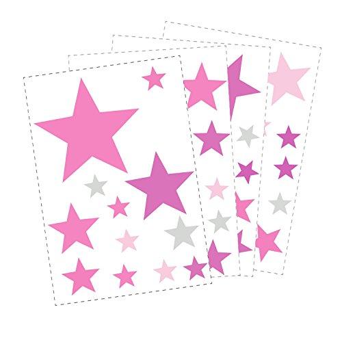 50 Sterne Wandtattoo fürs Kinderzimmer - Wandsticker Set - Pastell Farben, Baby Sternenhimmel zum Kleben Wandaufkleber Sticker Wanddeko -...
