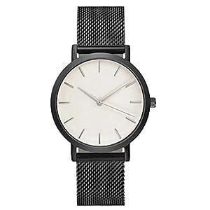 Herren Damen Klassisch Simulation Metall Mesh Uhren Luxus Geschäft Freizeit Quarz Armbanduhr Groveerble