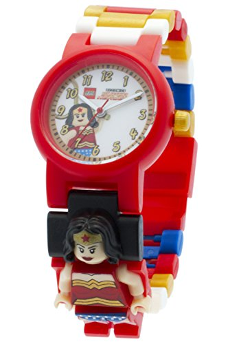 DC Comics Lego Super Heroes Wonder Woman Kids Minifigure Link Buildable Watch | Red/White | Plastic | 28Mm Case Diameter | Analogue Quartz | Official