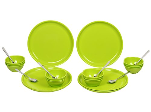 Gluman Dinner Set - Sparkle 24 pcs Round (Green) - GM-DS-SP-24RG  available at amazon for Rs.1380