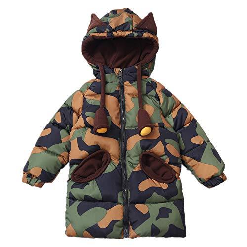 Morbuy Daunenjacke Kapuzenjacke aus Baumwolle Dicker Mantel Junge Winter Mantel Daunenjacke Dicke warm grün tarnen gutaussehend 2-7 Jahre altes Baby kindkostüm. (100cm)