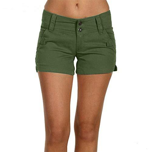 ZHOUJINGTIAN Shorts für Mädchen Weiblicher Sommer Normallack beiläufige dünne Ausdehnung große Kurzschlüsse Armee-Grün 2XL