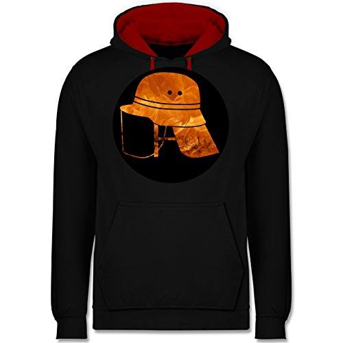 Shirtracer Feuerwehr - Feuerwehr Helm Flammen - XL - Schwarz/Rot - JH003 - Kontrast Hoodie -