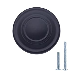 "AmazonBasics Traditional Top Ring Cabinet Knob, 1.25"" Diameter, Flat Black, 25-Pack"
