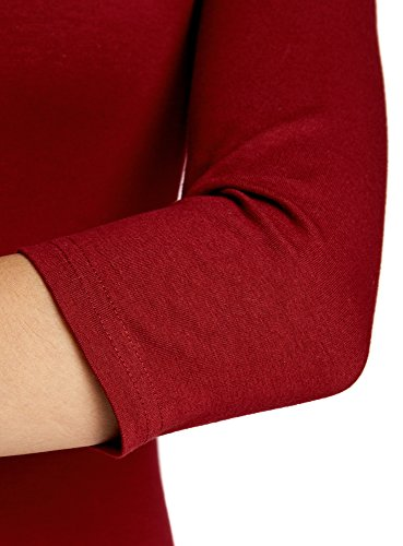 oodji Ultra Donna Abito Basic in Maglia Rosso (4900N)