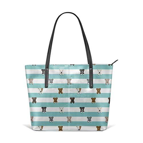 Frauen weiches Leder Tote Umhängetasche Pitbull Stripes Hunderasse Light Fashion Handtaschen Satchel Geldbörse - Stripe Zip Satchel