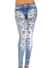La Elegante Sala De Elástico De Cintura Alta Pantalones Vaqueros Skinny Denim Desgastado Como