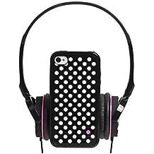 Blueway Pack Musique Capsule - Auriculares y carcasa a juego para iPhone 4/4S, diseño de lunares