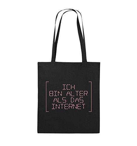 Comedy Bags - ICH BIN ÄLTER ALS DAS INTERNET - RETRO - Jutebeutel - lange Henkel - 38x42cm - Farbe: Schwarz / Silber Schwarz / Rosa