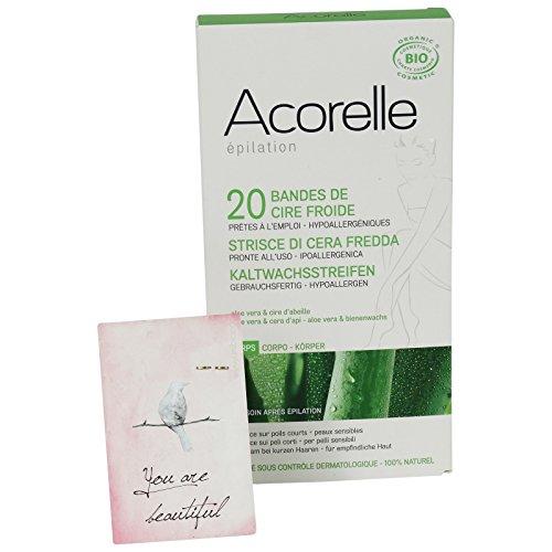 Acorelle - Strisce Depilatorie a freddo con Aloe Vera - Corpo - Ipoallergeniche - Con crema lenitiva inclusa