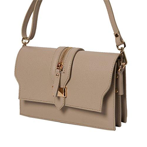 Pochette da giorno , Minibag ( 24 / 15 / 5 cm ) in pelle Mod. 2046 by fashion-formel Taupe