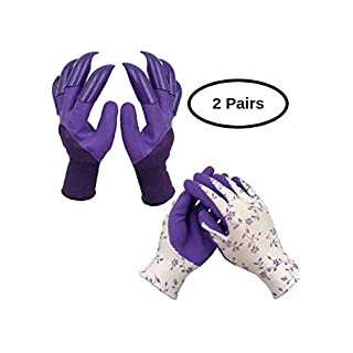 Gardening Working Gloves Women (2 Pairs) for Digging and Planting, Comfortable, Breathable, Rubber Coated for Protection - Best Gift for Gardeners