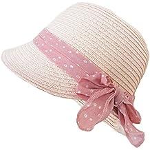 Sombrero Cloché Panamá Pamelas Paja Para Bebé Niñas Rosa Bowknot ... e68f7cb309c