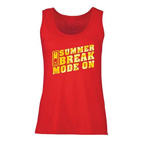 lepni.me Camisetas sin Mangas para Mujer Vacaciones de Verano - Modo Encendido, Trajes Vacaciones de Vacaciones, Citas de Viajes (Medium Rojo