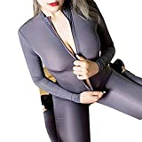 HNGPB Donna One Piece Unitard Zip Frontale Tuta Tuta Pelle Collant One Piece Dancewear Body Sexy Spandex Body Night Club Costume, I