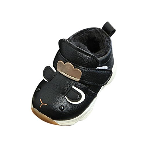 Kinder Stiefel, FEITONG Kinder Jungen Mädchen Sneaker Winter Martin Stiefel Warme Cartoon Schuhe (19, Schwarz)