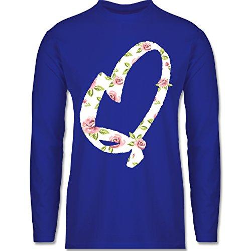 Shirtracer Anfangsbuchstaben - Q Rosen - Herren Langarmshirt Royalblau