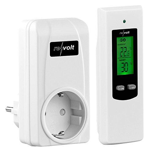 revolt Funkthermostat: Steckdosen-Thermostat mit mobiler Steuereinheit für Heiz- & Klimagerät (Funk Steckdosenthermostat)