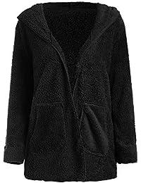 MYMYG Frauen Outwear Strickjacke Langarm Lässige offene Front mit Kapuze Fuzzy Coat Hoodie Pocket Sweatshirt Strickjacken Freizeit Tops Pulli Shirt Winterpullover