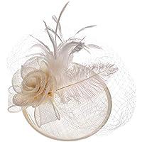 zZZ Blanco como La Leche Retro Británicos Señora Lino Pluma del Partido del Banquete De Señora Sombrero Headwear Sombrero Occidental Al Aire Libre 18 * 22CM Comodidad. (Color : White)