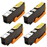 4x Compatible T2431 BLACK, EPSON 24LX High Capacity XL Ink Cartridges For EPSON Expression Premium XP-750, XP-850 Inkjet Printers FOR 24 (ELEPHANT) SERIES. With chip installed and will show ink levels.