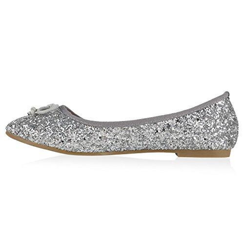 Klassische Damen Ballerinas Lederoptik Bequeme Schuhe Freizeit Übergrössen Glitzer Lack Party Schuhe Zweitschuhe Hochzeit Abiball Silber Creme Glitzer