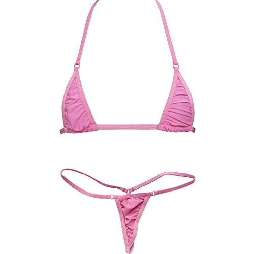 Tiaobug BH Bra + String-Tanga Reizwäsche Dessous Set Sexy BH-Set BHs Unterwäsche (Rosa)