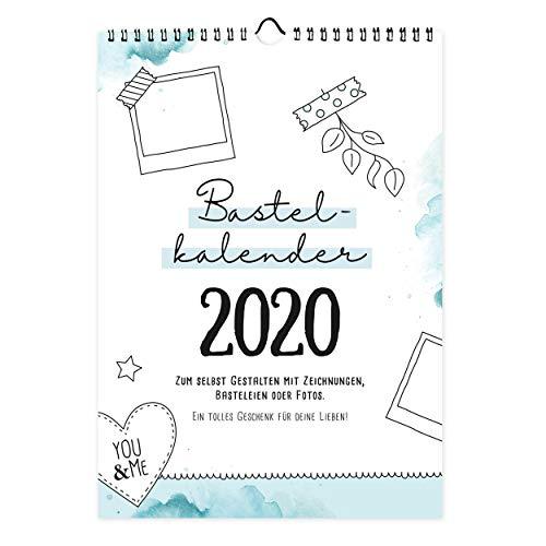 Bastelkalender Din A4 zum selbst gestalten 2020, Wandkalender zum Aufhängen, Jahreskalender mit Monatsübersicht, Fotokalender zum Basteln und Beschriften, tolles Geschenk
