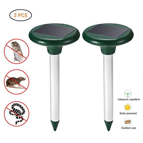 Solar Maulwurfabwehr,2 Stück Ultrasonic Solar Maulwurfschreck Maulwurfschreck Schlangenabwehr Schädlingsbekämpfung Solar Maulwurfbekämpfung für Draußen Rasen Gartenhöfe
