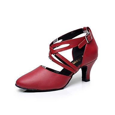 Silence @ Chaussures de danse pour femme en cuir Cuir latine Sandales Talon bas Practise/débutants/Professional/intérieur/Performanceblack/ noir