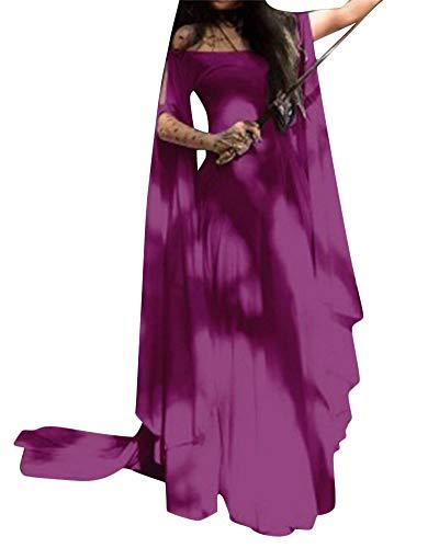 Billig Mittelalterliche Kostüm - PengGengA Damen Unregelmäßig Renaissance Glocke Ärmel Mittelalterlichen Glocke Ärmel Korsett Kleid Maxi Party Halloween Kostüm Violett XL