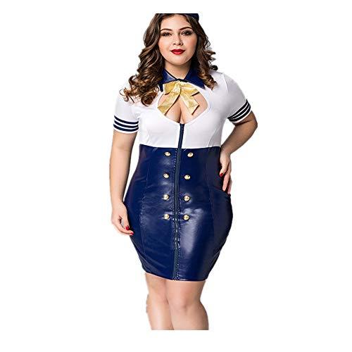 ZJHNY Stewardess Uniform, Damen erotische Unterwäsche, verführerisch sexy, große Unterwäsche Fett mm