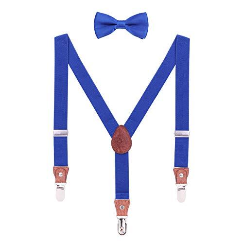 WANYING Hosenträger Fliege Set für Baby Kleinkind Kinder Jungen Mädchen 2-8 Jahre alt Y Form 3 Clips Breite 2,5cm Elastische Hosenträger - Einfarbig Königblau (Kleinkind Vintage-anzüge)