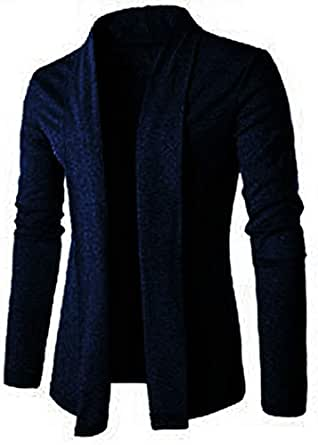 PAUSE Black Solid Lapel Collar Slim Fit Full Sleeve Men's Cardigan