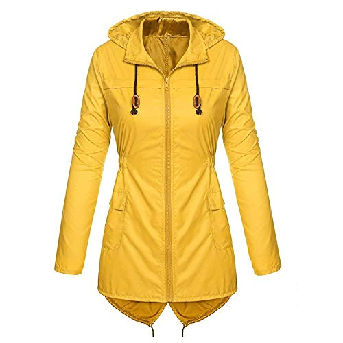 ZHANSANFM Damen Windmantel Outdoor Winddichte Warme Funktionsjacke mit Kapuze Unifarben Taille Kapuzenjacke Frauen Mode Leicht Mantel Wasserdicht Atmungsaktiv Hoodie Trenchcoat (3XL, Gelb) - Crown Hoodie