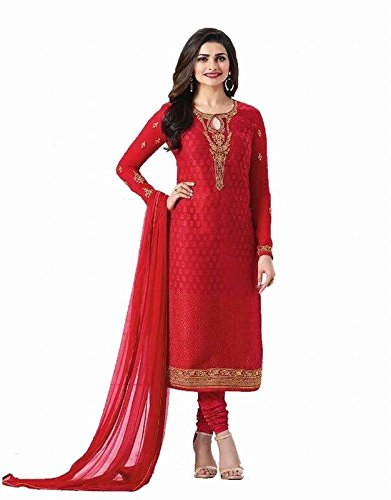 Flourishing Collections Women's Brasso Embroidered Semi Stitched Dressmaterial