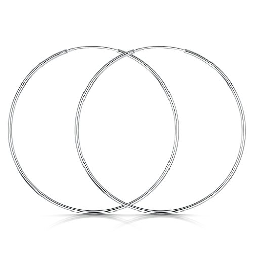 Kiss Me 925 Sterling Silver Fine Circle Endless Hoops - Polished Round Sleeper Earrings Diameter Size: 40 50 60mm Ny0NVvhIT