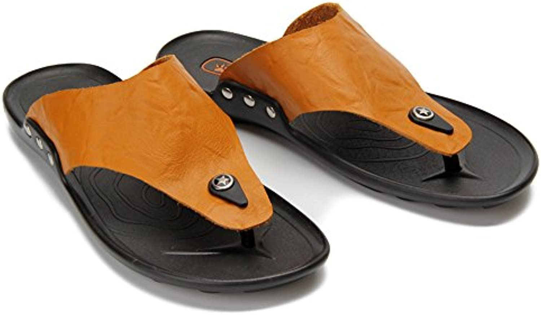 Jiuyue shoes  Echtes Leder Strand Hausschuhe rutschfeste weiche flache Sandalen  perfekt für den Strand oder jede