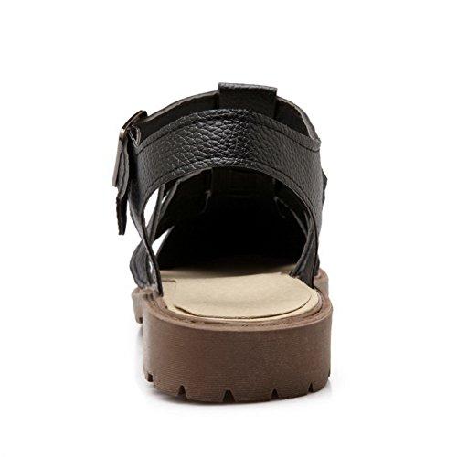 Zehe Sandalen Schwarz Material Offener Weiches Niedriger Damen Schnalle Aalardom Absatz qagU66