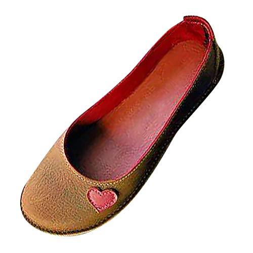 s Fahren Müßiggänger Leder Leichte Bequeme Runde Kappe Slip On Schuhe Vintage Low-Top Pumps Breite Passform Sandalen für Damen Plus Größe ()