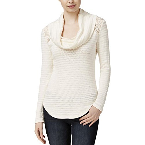 Maison Jules Womens Cowl Neck Lace Pullover Sweater Ivory XL (Lace Cowl)