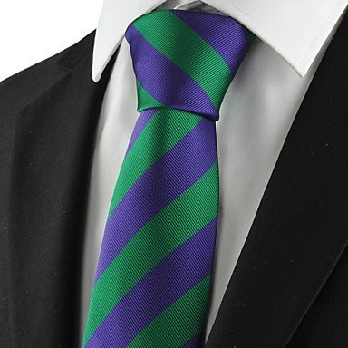 fyios� Nuovo Verde Viola a righe costume cravatta cravatta Mens Party Holiday Gift kt1023