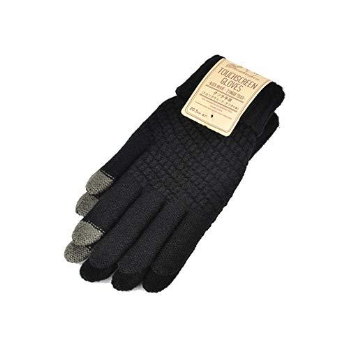 LiGHT-S 2019 Inverno Touchscreen Gloves per le donne gli uomini Caldo Stretch lavorato a maglia Guanti di lana imitazione Finger completa Nero Bianco Guanti, nero