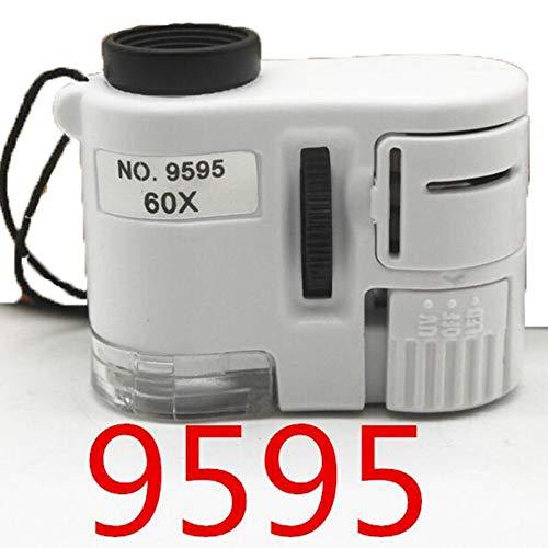 Microscopio con lente d'ingrandimento tascabile mini lente 60X con LED a luce ultravioletta