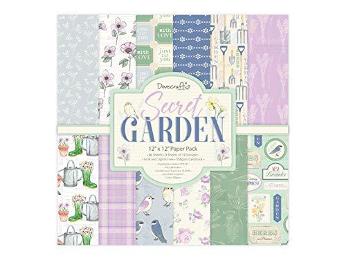 Dovecraft Secret Garden Papier, 36 Blatt mit 12 Designs, FSC-zertifiziert, für Bastelarbeiten, Schreibwaren, Tagebuch, mehrfarbig, 30,5 x 30,5 cm