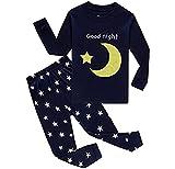 Babygp 2 Stücke Anzug der Schlafanzüge von Mädchen und Jungen mit 100% Baumwolle (134(Herstellergröße:8-9Jahre), Mond und Stern)