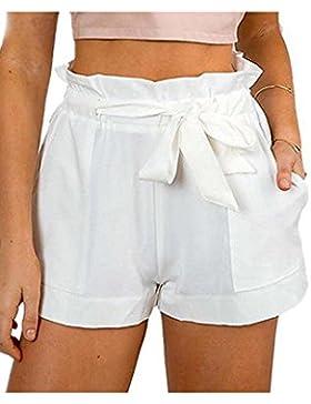 Zojuyozio Belted Shorts Algodon Volantes Mujeres Verano Casual Beachwear Una Linea De Pantalones