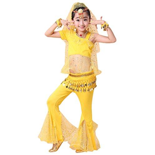 Anguang Kinder Mädchen Ein Ärmel Crop Top Bauchtanz Ägypten Hosenanzug Mesh Kostüm Gelb#5 3XL